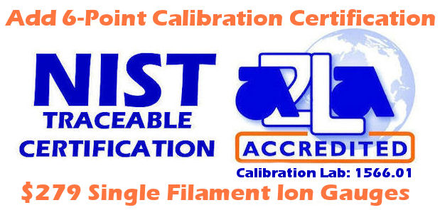 Single Filament Ion Gauge Calibration